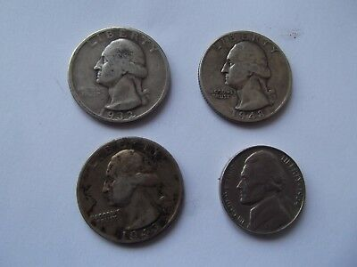 Three Quarter USA Dollars & One 5 Cents Coins. 1932 to 1964 High Silver Content