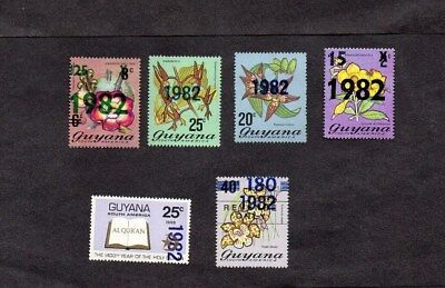 GUYANA.1982. 6xDIFF'T OVERPRINT SURCHARGED STAMPS.MINT NEVER HINGED.
