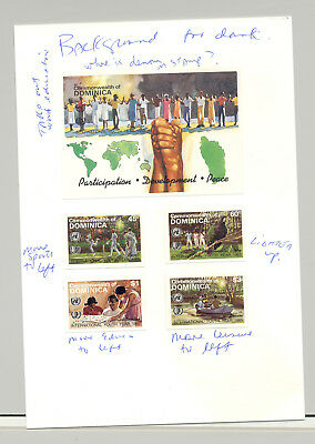 Dominica #901-905 Youth Year, UN, Cricket 4v & 1v S/S Imperf Proofs on Card