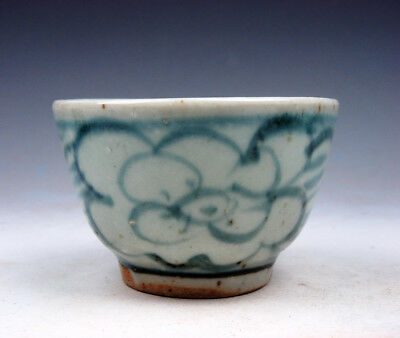 Antique Blue&White Glazed Porcelain Flower Blossoms Hand Painted Cup #10191706