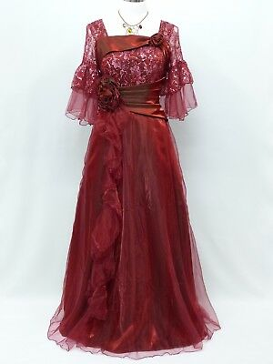 Cherlone Red Ballgown Wedding Evening Bridesmaid Full Length Formal Dress 16