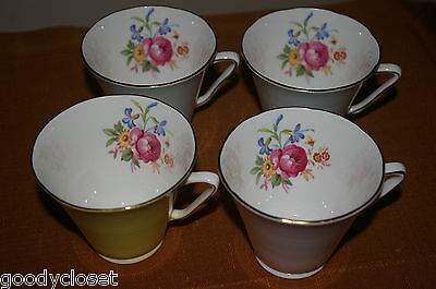 Lot Of 4 Cups Only Royal Grafton Bone China Made In England Rose Interior