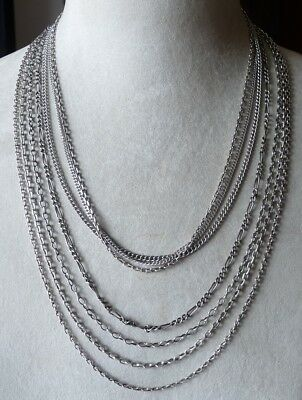 ANTIQUE SOLID SILVER NECKLACES LOT BIJOUX ANCIENS COLLIERS EN ARGENT MASSIF 53g