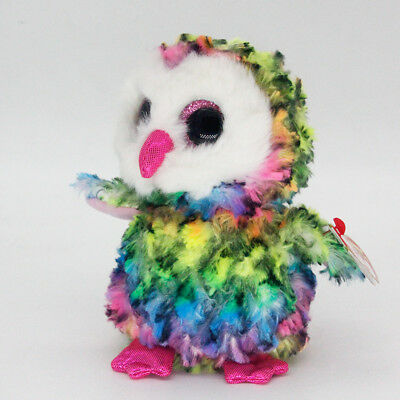 """6"""" Ty Beanie Boos Owen Multicolor Owl  Stuffed Animal Plush Toys Child Gifts A1"""