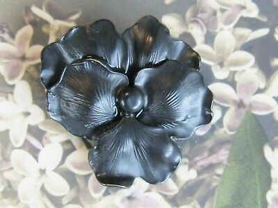 Sweet Antq Victorian Mourning Layered Realistic Black Pasny Flower Pin Brooch