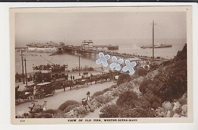 H.j.series Photo Postcard - View Of Old Pier, Weston-Super-Mare (Cars, Trams Etc