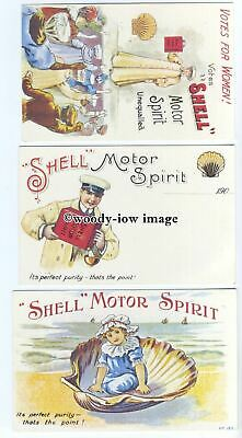 "su3256 - ""Shell"" Motor Spirit, Seaside,Suffragette, and Mechanic - 3 postcards"