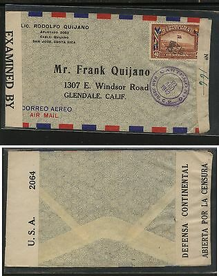 Costa  Rica   nice double  censor cover  to  US  1942            KL0721