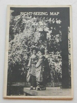 1934 Japanese Kyoto Sight-Seeing Map Kyoto Japan 1934