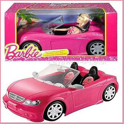 HTF Mattel Barbie Glam Convertible Vehicle Sparkle Pink & Hot Seats + Doll NIB