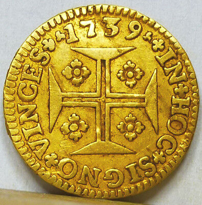 Portugal Gold 1000 Reis 1739 Very Fine