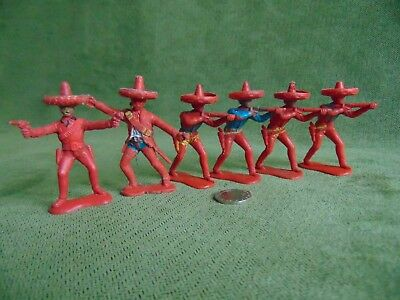 Crescent Toy Soldiers. Vintage. Mexicans X6
