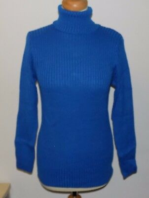 VINTAGE 1970's UNWORN LADIES KEYNOTE BLUE ROLL NECK LONG SLEEVE JUMPER MEDIUM