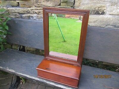 Antique ~  Wooden Wall Mounted ~  Hall Mirror with Glove/Brush/Candle Box