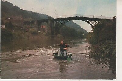 Coracle on River Severn at Ironbridge. Eustace Rogers. 1982 postcard in FC. Used