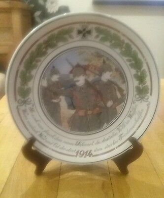 Rare WW1 Imperial German Patriotic Plate showing The German Army Advancing 1914