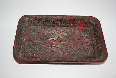Chinese Carved Dragon Red Painted Plate Tray