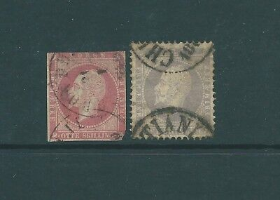 NORWAY - 1856 pair of used stamps - King Oscar I