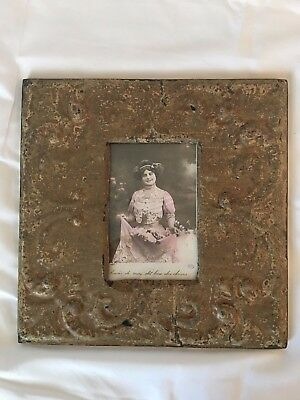 """1890's Antique Ceiling Tin Picture Frame 4"""" x 6 Metal Taupe 508-17"""