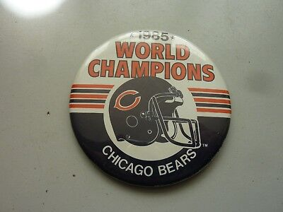 1985 LARGE NFL CHICAGO BEARS WORLD CHAMPIONS METAL BADGE 85mm ORIGINAL
