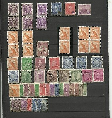 Australia George VI defs 75v mainly used but includes Roo coil block UM 2 scans
