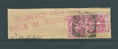 CAPE OF GOOD HOPE 1900 piece - ''Recovered from Wreck of Mexican'' handstamp