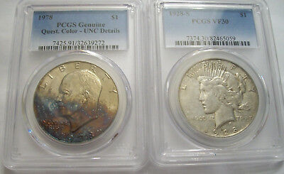 Lot of Two PCGS Dollars (50 Years Apart):1928-S Peace, VF30 and 1978 Ike UNC