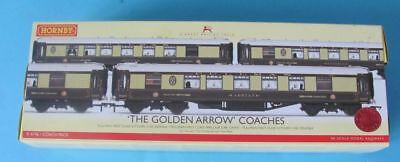Hornby Boxed Set Three Pullman Coaches 00 Gauge. Golden Arrow Coaches.