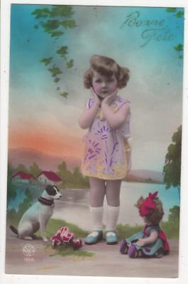 VINTAGE FRENCH DECO RP POSTCARD,LITTLE GIRL & WONDERFUL DOLL & TERRIER DOG,c1920
