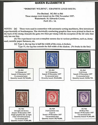 GB SG#561-66 Scott #317c-322d MNH F-VF>QEII Graphite Lined Issues complete set