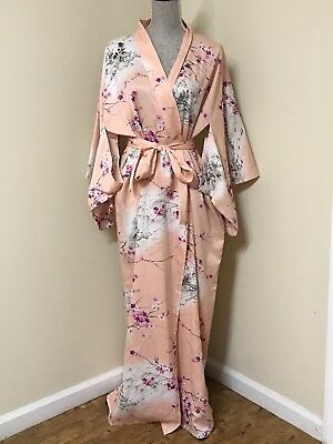 Vintage Marukyo Authentic Japanese Floral Kimono Robe Made In Japan M/L MINT