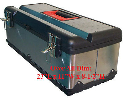 """23"""" Portable Stainless Steel Mobile Tool Box Chest Storage Case Organizer"""