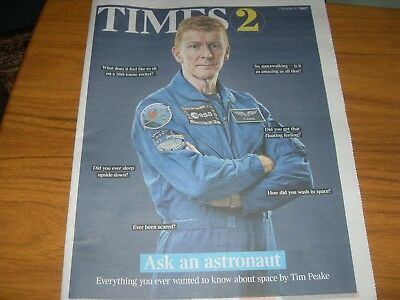 UK Times 2  - Ask an astronaut - SPACE - TIM PEAKE Times supplement   9.10.17