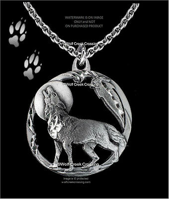 Moon Shadow Wolf Necklace - Diamond Cut Wolves Eagle Feather - Free Ship  #c24