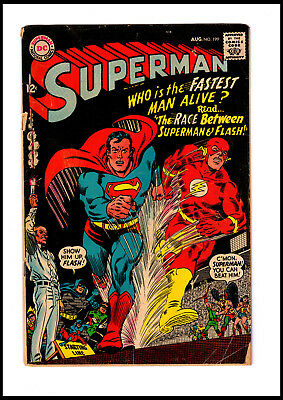 1967 Dc Comics Superman #199 First Superman Vs Flash Race