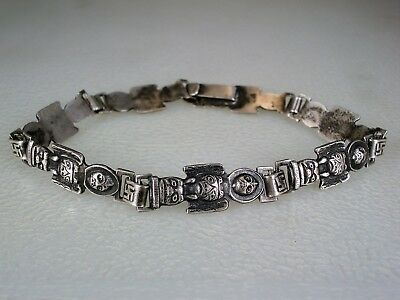 RARE OLD Fred Harvey era NW Coast STERLING SILVER TOTEM WHIRLING LOGS BRACELET