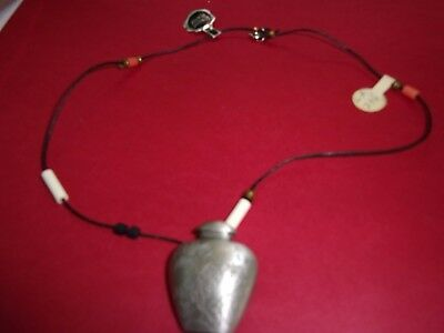 Vintage etched pewter necklace, flowers and beads new