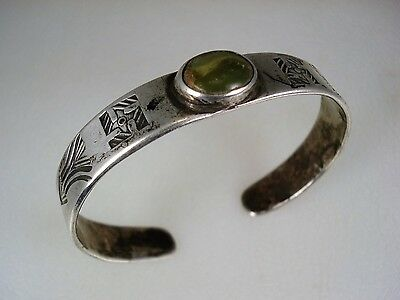 Early Navajo Stamped Ingot Silver & Turquoise Whirling Logs Bracelet
