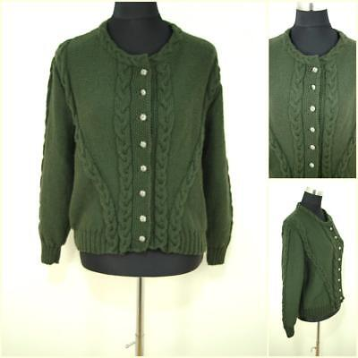 Vintage Folk Pure Wool Cable Knit Green Bavarian Tyrolean Cardigan Jumper 14-16