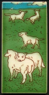 TH3087 Very Rare Charlotte Rhead Tubeline 3x6 Tile of Lambs Playing in a Field