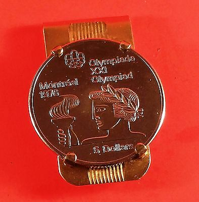 Money Clip Milo Canada 1974/76 Olympic 5$ (Coin 24.3 Grams) 44.4 Grams Sterling