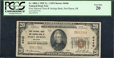 1929 $20 National Currency Port Huron MI PCGS 20 Fr.1802-1 Charter CH#4446
