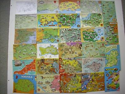 Collection 40 Map Postcards -  Maps From Around The British Isles