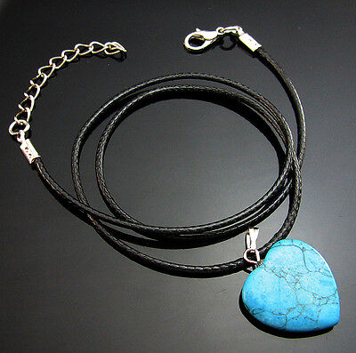 Blue Turquoise Natural Gemstone Heart Reiki Chakra Pendant Bead Charms Necklaces