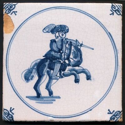 TH3092 Delft Tile of a Soldier on Horseback c.1890