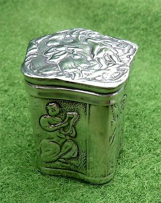 Attractive Small Decorated Dutch Silver Box- London Import 1890 By Lewis Lewis