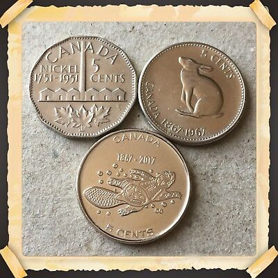 1751 1951 Comm -1867 1967-1867 2017 Canada five cents nickels Coins #655