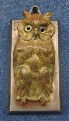 Brass Glass Eyes Owl Figural Paper Letter Wall Mount Clip