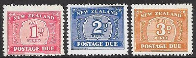 NEW ZEALAND 1945-49 P.Due set 3, mint hinged. 3d is wmk. side inv. SG D45/46/47a