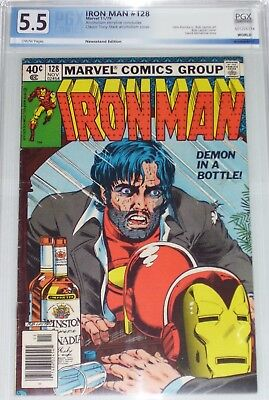 Iron Man #128 PGX/CGC graded 5.5 (F-) Classic Cover. Alcoholism story concludes